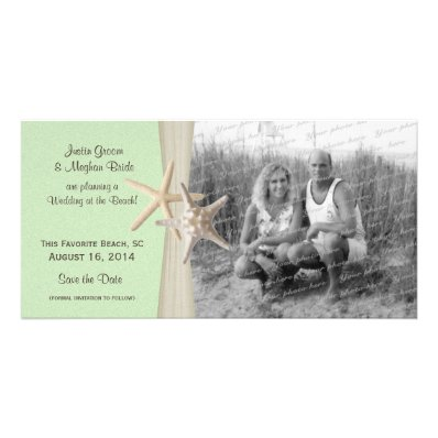 Beach Wedding Starfish Green Save the Date Photo Picture Card