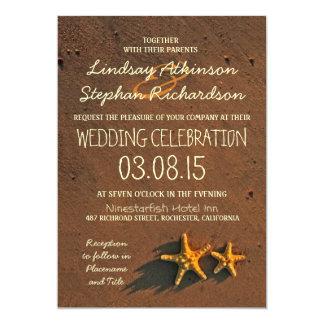 "beach wedding starfish invitations 5"" x 7"" invitation card"