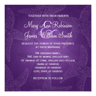 Beach Wedding Starfish Purple Card