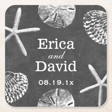 Beach Themed Beach Wedding Starfish & Seashells Chalkboard Square Paper Coaster