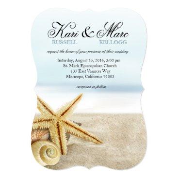 Beach Themed Beach Wedding Starfish Seashells Ocean Card