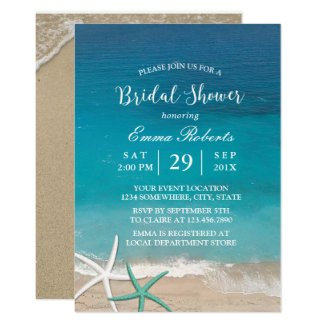 Beach Wedding Starfish Summer Bridal Shower Invitation
