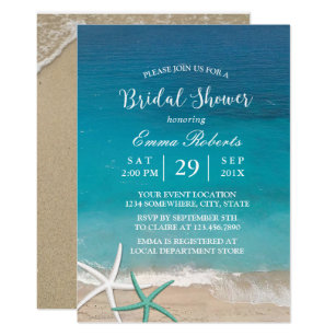 Beach bridal shower invitations zazzle beach wedding starfish summer bridal shower invitation filmwisefo