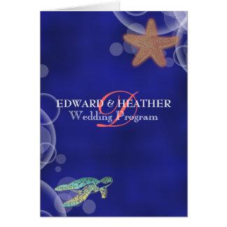 Beach wedding starfish turtle program