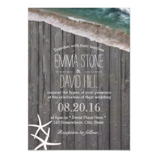 Beach Wedding Starfish & Waves Rustic Wood Card