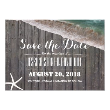 Beach Themed Beach Wedding Starfish Wood Save the Date Card