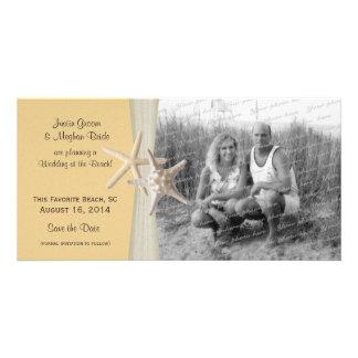 Beach Wedding Starfish Yellow Save the Date Photo Card