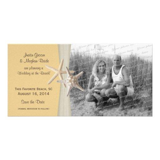 Beach Wedding Starfish Yellow Save the Date Photo Custom Photo Card