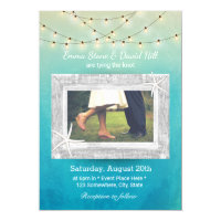 Beach Wedding String Lights Watercolor with Photo Card