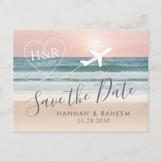Beach Wedding Sunset Heart Airplane Save the Date Announcement Postcard