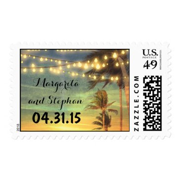 Beach Themed beach wedding sunset postage stamps