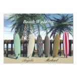 "Beach Wedding Surfboards Invitation 5"" X 7"" Invitation Card"