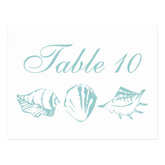 Beach Wedding Table Number Blue Seashells Postcard
