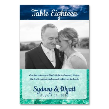 Beach Wedding Table Number Photo Story Cards
