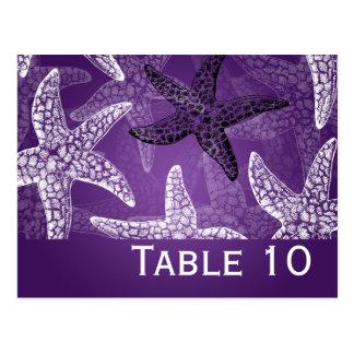 Beach Wedding Table Number Starfish Purple Postcard