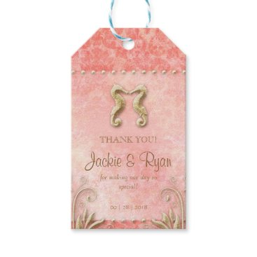 Beach Themed Beach Wedding Tag Seahorse Vintage Coral Gold