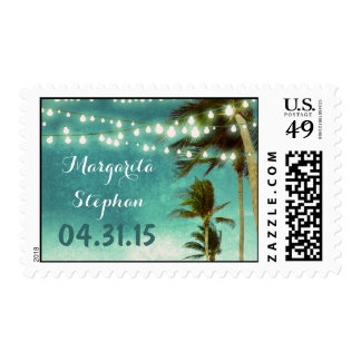 beach wedding teal ombre postage stamps