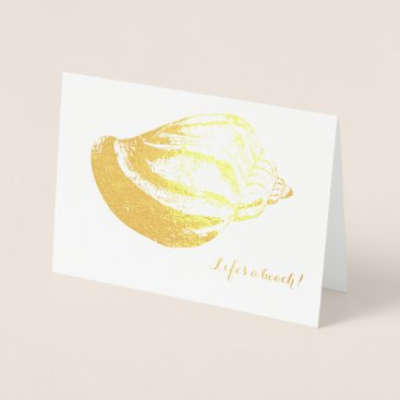Beach Themed Beach Wedding Thank You Card Gold Foil Shell