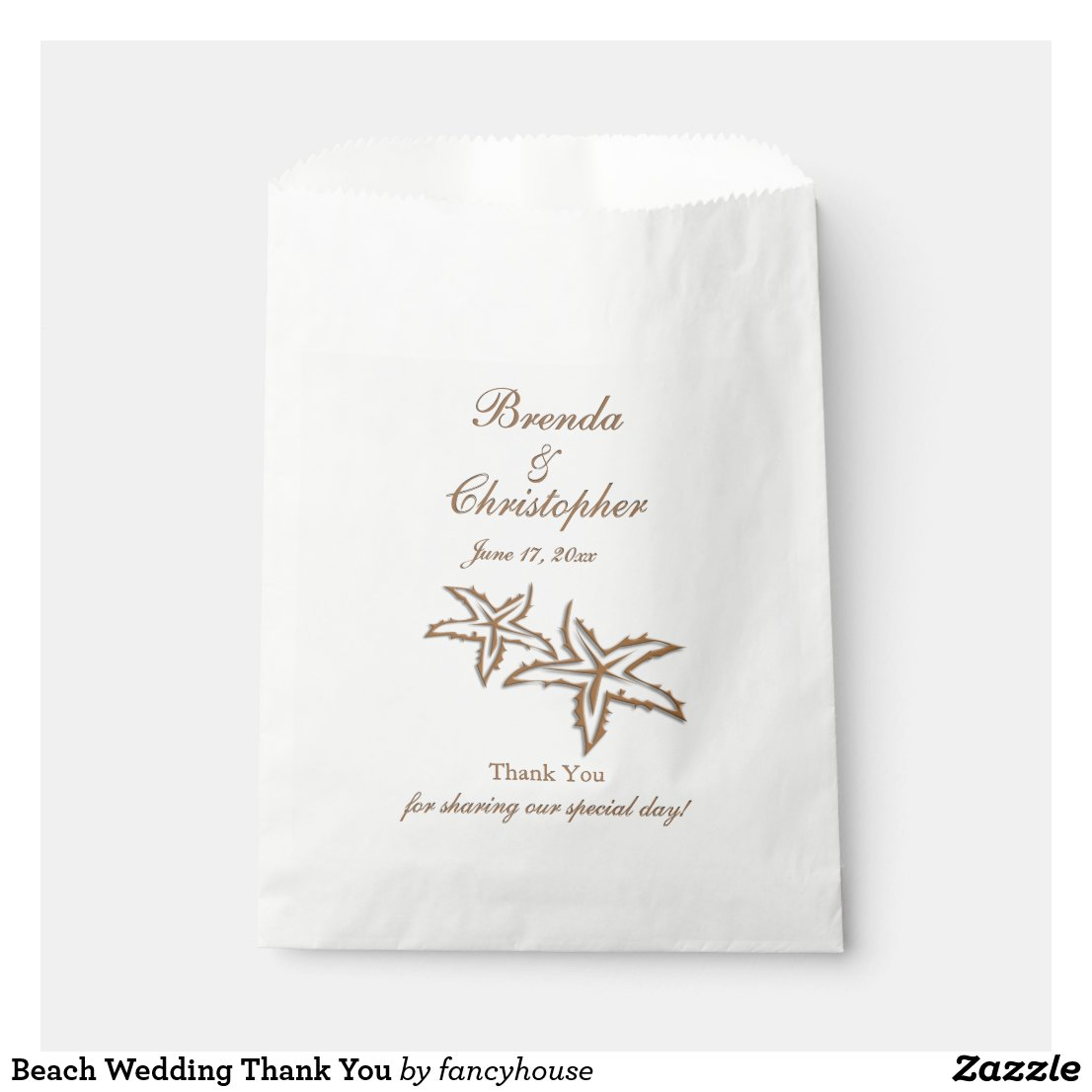 Beach Wedding Thank You Favor Bag