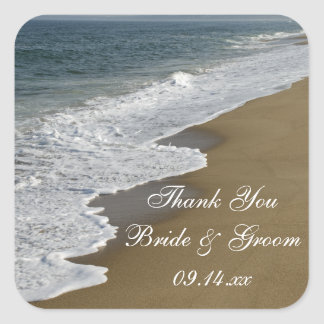 Beach Wedding Thank You Favor Tags Square Sticker
