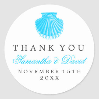 Beach Wedding Thank You Scallop Shell Turquoise Classic Round Sticker