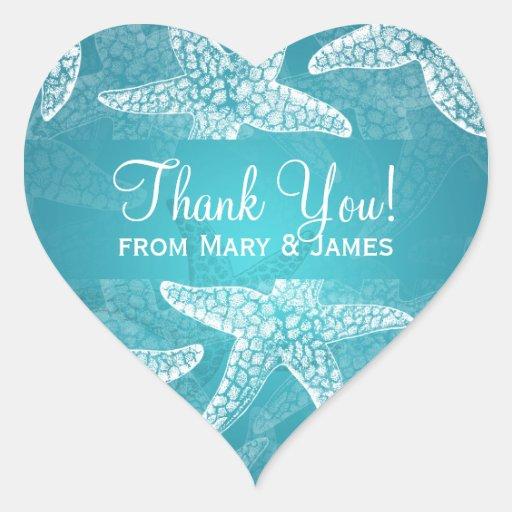 Beach Wedding Thank you Starfish Blue Heart Sticker