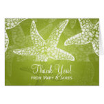 "Beach Wedding ""Thank you"" Starfish Lime Green Greeting Card"