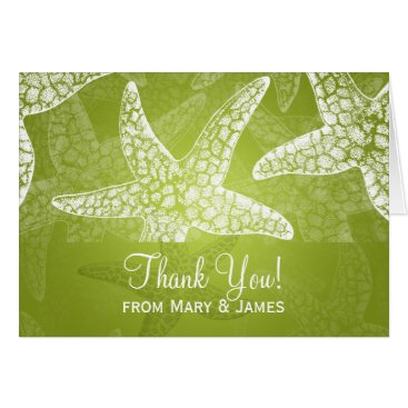 "Beach Themed Beach Wedding ""Thank you"" Starfish Lime Green Card"