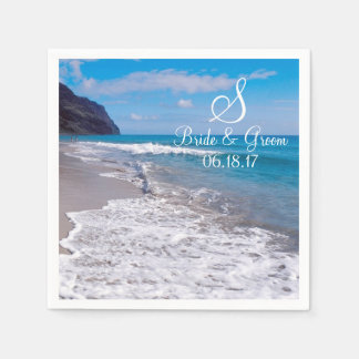 Beach Wedding Theme Monogram Date Bride Groom Name Napkin