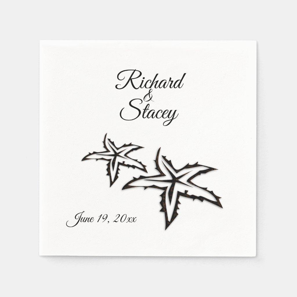 Beach Wedding Theme Personalized Paper Napkin
