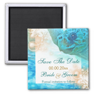 """Beach wedding theme """"save the date"""" turtle magnet"""