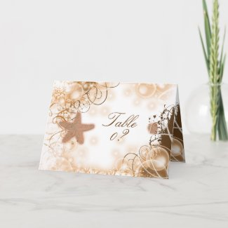 Beach wedding theme ~ table seating 2 placement card