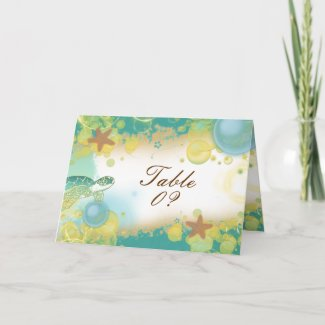 Beach wedding theme ~ table seating 3 placement card