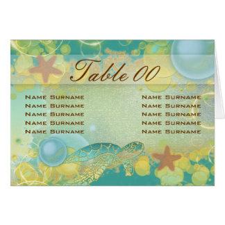 Beach wedding theme ~ table seating folded card