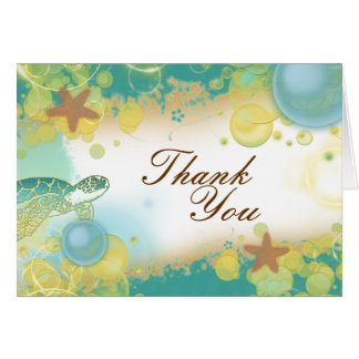 Beach wedding theme ~ thank you card
