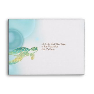 Beach wedding theme ~ turtle n bubbles envelope
