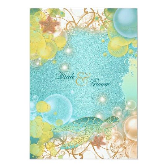 Beach wedding theme turtles & starfish card