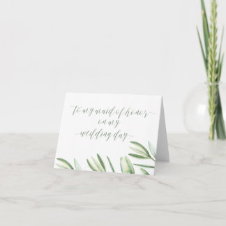 Beach Wedding To My Maid of Honor Wedding Day Card