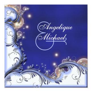 Beach wedding tropical coastal ivory blue custom announcement