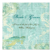 Beach wedding turtle swirl engagement card