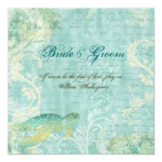 "Beach wedding turtle swirl engagement 5.25"" square invitation card"