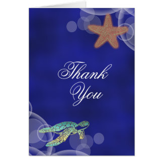 "Beach wedding turtle ""thank you"" card"