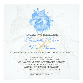 Beach Wedding Vintage Mollusk Shell Blue Personalized Announcement