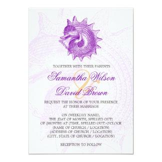 Beach Wedding Vintage Mollusk Shell Purple Card