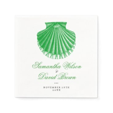 Beach Themed Beach Wedding Vintage Scallop Shell Green Paper Napkin