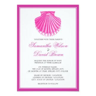 Beach Wedding Vintage Scallop Shell Pink Card