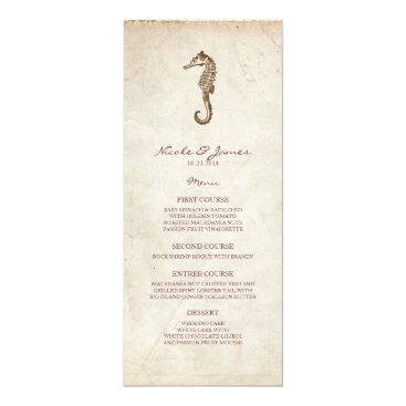 Beach Themed Beach Wedding Vintage Seahorse Menu Card