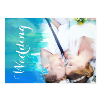 Beach Wedding Watercolor Modern Photo Invitation
