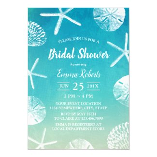 Beach Wedding Watercolor Seashells Bridal Shower Invitation