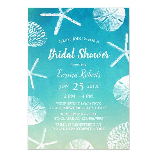 Beach Wedding Watercolor Seashells Bridal Shower Invitation